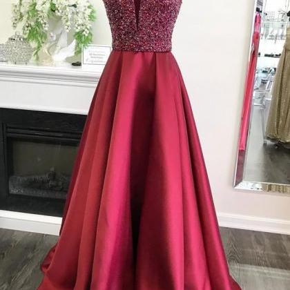 Modest Red Beading Satin Long Prom ..