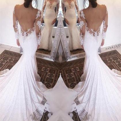 Elegant Mermaid Bateau Wedding Dres..