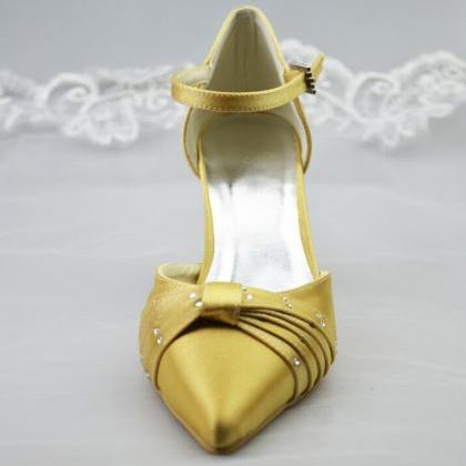 Close Pointed Toe Gold Satin High T..