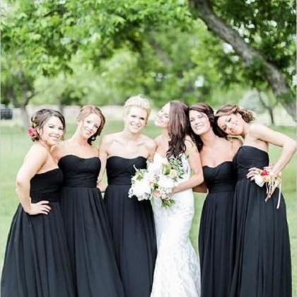 Simple Bridesmaid Dresses,Black Bri..