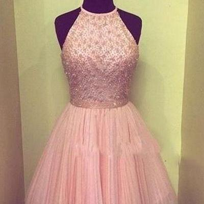 Halter Beading Tulle Homecoming Dre..