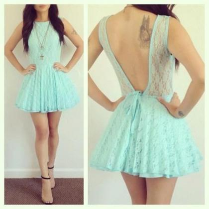 Mint Lace Homecoming Dresses,Handma..