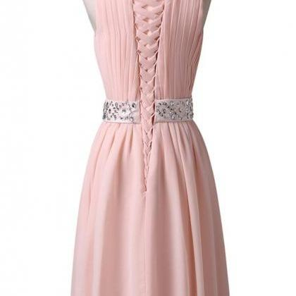 Pink O-neck Chiffon Homecoming Dres..
