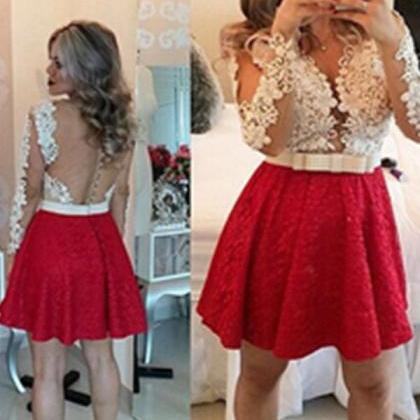 Red Lace Long Sleeves Handmade Back..