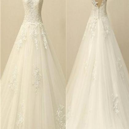 A-line Ivory Lace V-neck Wedding Dr..