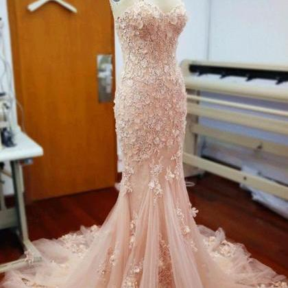 Pink Sweetheart Prom Dresses,Mermai..