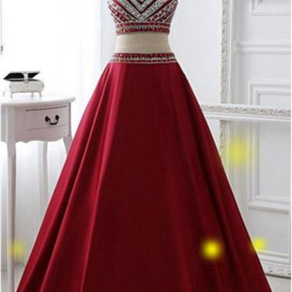 Burgundy Two Pieces Prom Dresses,A-..