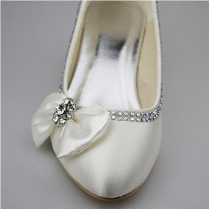 Low Heel Ivory Shoes,Simple Beading..