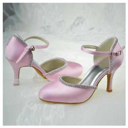 Girly Pink Satin Shoes,High Heels,C..