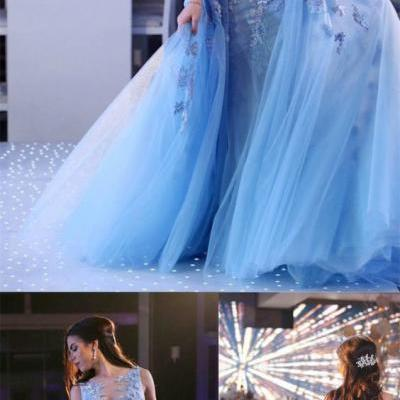 Light Blue Mermaid A Line Prom Dresses,Lace Appliques Lace up Wedding Dresses,Princess Elegant Party Dresses,Prom Dresses DC143