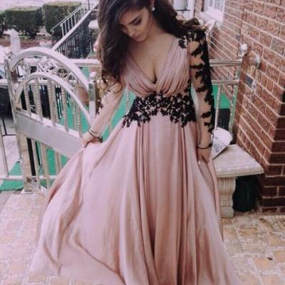 2015 V-Neck Evening Dress,Prom Dress for prom, Appliques Satin Prom Dress,Long-Sleeve Prom Dress,Dresses For Evening,Sexy Floor-Length Prom Dresses