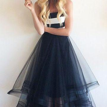 2016 New Arrival Tulle Prom Dresses, Floor-Length A-Line Prom Dresses, Sexy Prom Dresses,The Charming Evening Dresses,