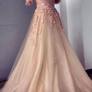 Appliques and Tulle Prom Dresses, Floor-Length Prom Dresses, Sexy Prom Dresses, Half Sleeve Prom Dresses, Charming Evening Dresses,