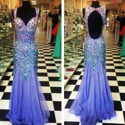 Beading Prom Dresses, Sweetheart Floor-Length Evening Dresses, Backless Real Made Prom Dresses,Chiffon Sequins Evening Dresses, Charming Prom Dresses,