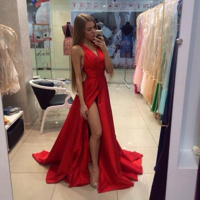 Real Sexy Cheap Front Split Prom Dresses,Simple Long Party Dresses,Deep V-neck Evening Dresses,Custom Made Prom Dress On Sale