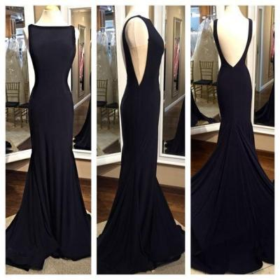 2016 Simple Long Mermaid Prom Dresses,Backless Modest Prom Gowns,Charming Evening Dresses,Pretty Party Dresses,Real Sexy Black Cheap Party Prom Dresses