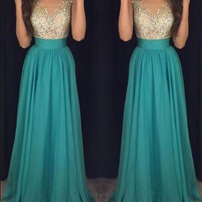 2016 Pretty Long High Low Chiffon Beading Teal Prom Dresses,Prom Dress,Evening Dresses,Party Gowns DR0403