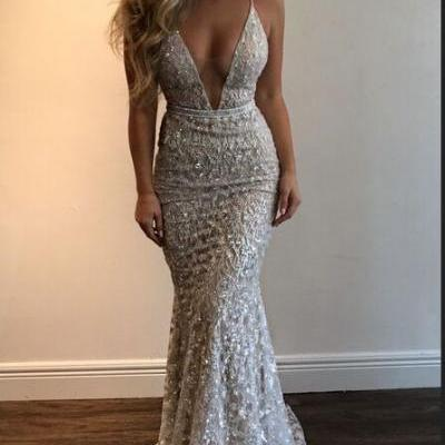 Ivory Sequin Shiny Prom Dresses,Mermaid Prom Dresses,V-neck Prom Dresses,Spaghetti Straps Prom Dresses,Long Prom Dresses,Sparkly Prom Dresses,Charming Evening Dresses Princess Prom Dresses,Women Dresses,Party Dresses DR0466