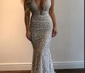 150d66f1 Ivory Sequin Shiny Prom Dresses,Mermaid Prom Dresses,V-neck Prom Dresses,Spaghetti  Straps Prom Dress on Luulla