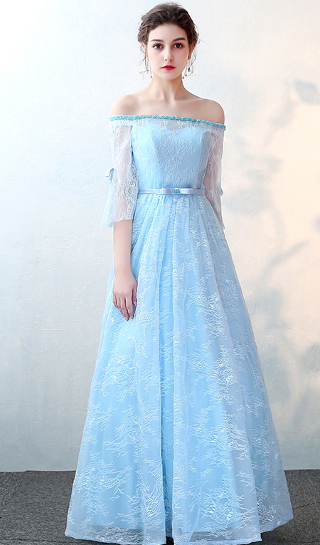 Long Light Blue Prom Dresses