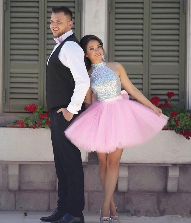 Pink and Silver Short Prom Dresses