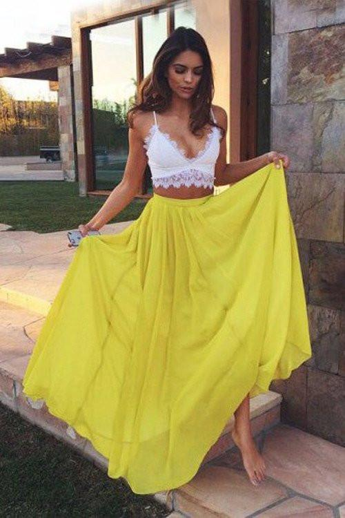 2 Pieces White And Yellow Long Prom Dresses,Simple Flowy Prom Gowns ...