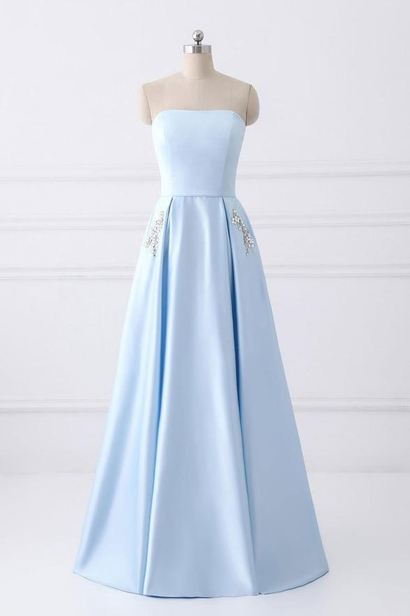 Charming Strapless Lace Up Prom Dresses,Sky Blue Graduation Dresses,Long Prom Dresses With Pockets DR0541