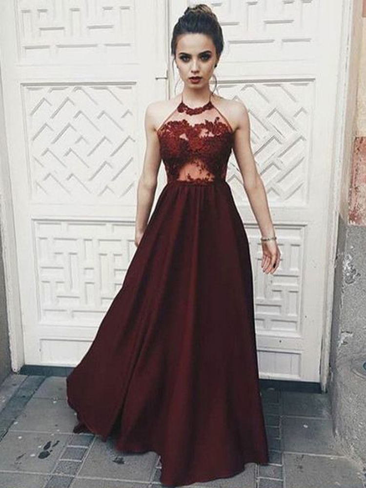 448d262fd Chic A Line Halter Prom Dresses,Backless Burgundy Satin Prom Dress with  Appliques,Elegant