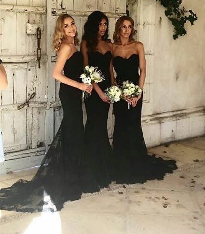 Black Sweetheart Strapless Bridesmaid Dresses,Lace Mermaid Bridesmaid Dress with Chapel Train,Sleeveless Long Prom Dresses,Bridesmaid Dresses DC79