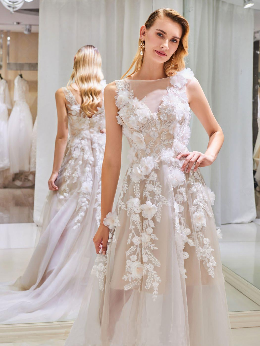 A Line High Low Prom Dresses,Tulle V Back Scoop Wedding Dresses,Lace Appliques Sleeveless Bridal Dresses,Prom Dresses DC174