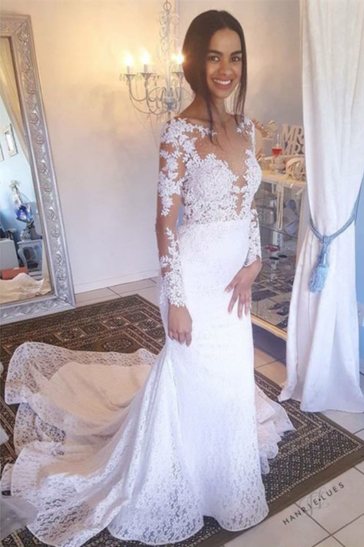 Elegant Mermaid Bateau Wedding Dresses,Long Sleeves Backless Bridal Dresses,White Lace Wedding Dress,Wedding Dresses DC175