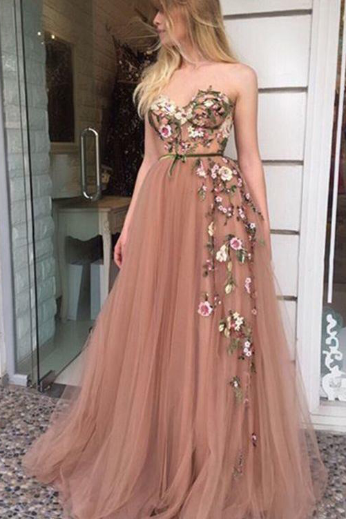 a33f412ac Strapless Sleeveless Beautiful Prom Dresses,A-line Sweetheart Embroidery  Prom Dress,Long Evening