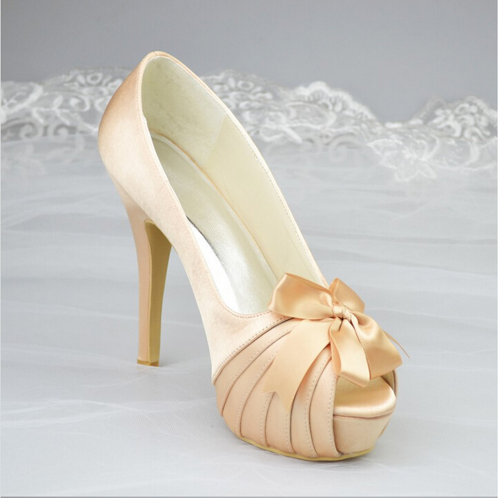 Satin High Heels Sweet Women Shoes, Peep Pointed Toe Thin Heel Girls Shoes Fashion Pumps,Wedding Shoes