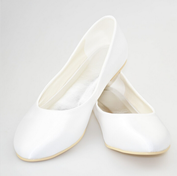 Pointed Shoes Classic Womens White Satin Closed Round Toe Women Wedding Bridal Flat Shoeswedding