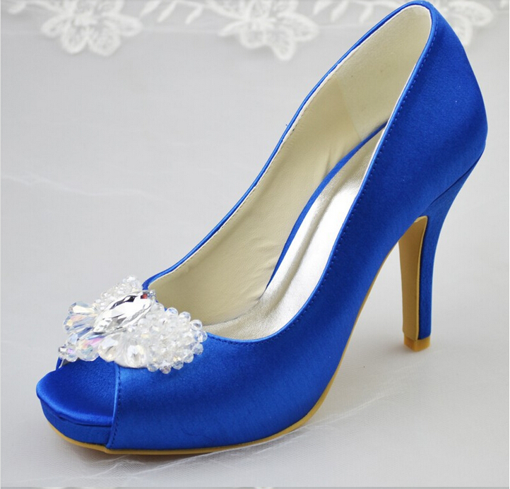 New Arrival Royal Blue Satin Women Pumps Low Heel Closed Pointed Toe Women Dress Shoes Wedding