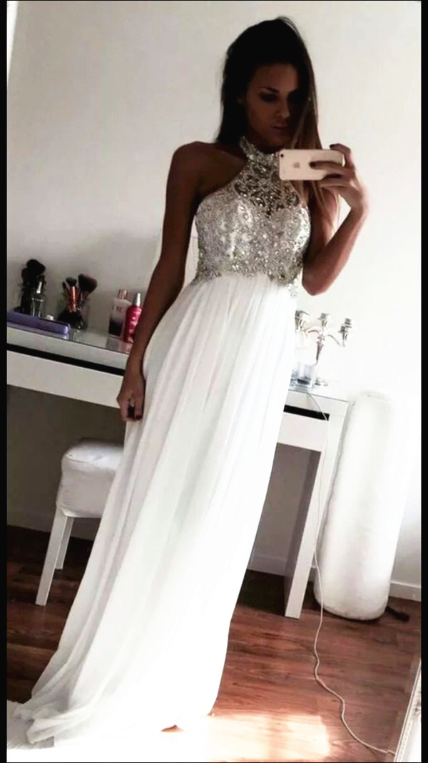 New Design Beading Prom Dresses, The Charming White Evening Dresses ...