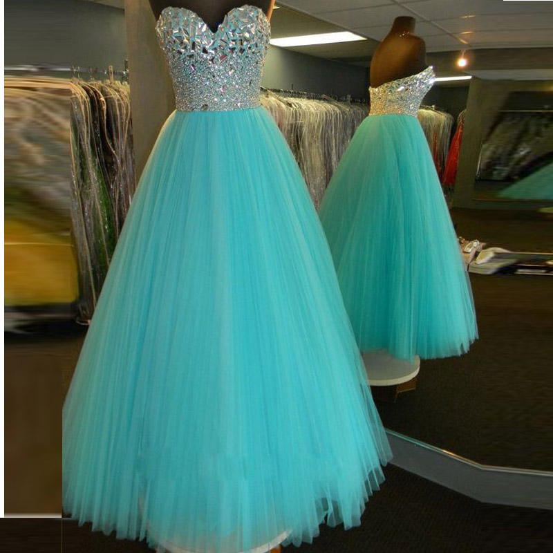 Sweetheart Beaded Ball Gown Prom Dresses,Mint Quinceanera Dresses ...