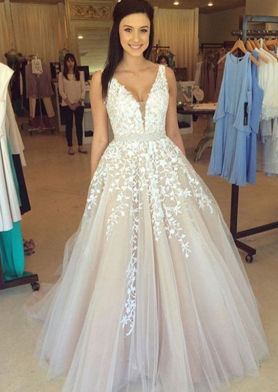 Long V-neck Pretty Lace Prom Dresses,Modest Prom Dresses,Sparkly ...