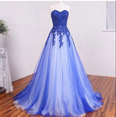 f836975a189 Long Sweetheart Lace Royal Blue Prom Dresses