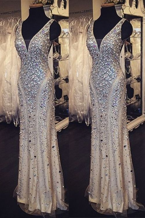 Sequin shiny long beading prom dresses v neck prom dress for Very sparkly wedding dresses