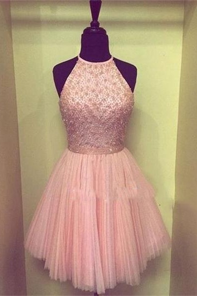 Halter Beading Tulle Homecoming Dresses,Short Handmade Sleeveless Graduation Dresses,Pink Cocktail Dresses