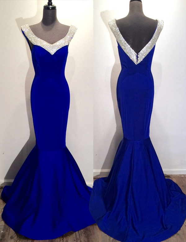 Off Shoulder Pretty Royal Blue Rom Dresses b48ceb15e6c7