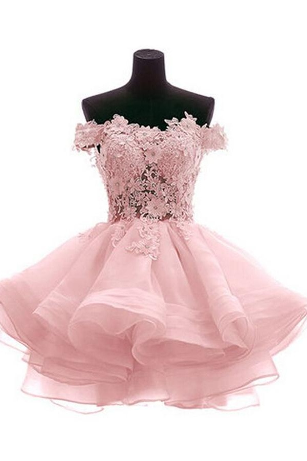 Cute Off Shoulder Pink Homecoming Dresses,Elegant Cocktail Dresses ...