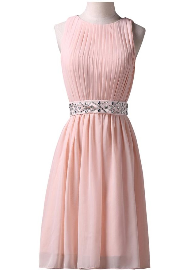 Pink O-neck Chiffon Homecoming Dresses,Cute Girly ELegant Homecoming Dress,Short Handmade Prom Dresses