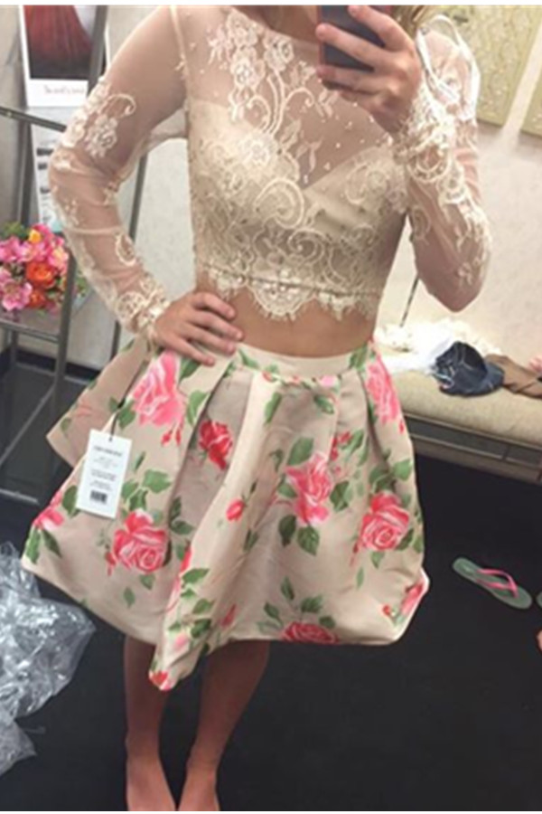 Long Sleeves Open Back Short Two Pieces Lace Homecoming Dresses,Party Dresses,Newest Homecoming Dresses