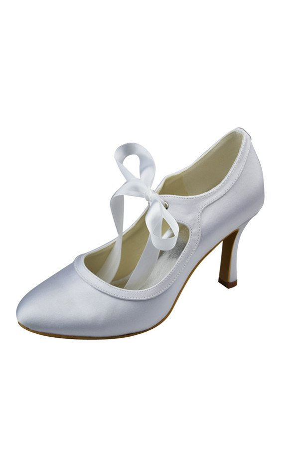 Lace Up White Simple Cheap Close Toe High Quality Weddig Shoes,Party Shoes