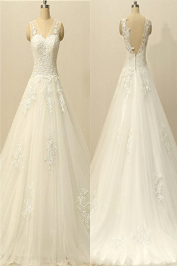A-line Ivory Lace V-neck Wedding Dresses,Modest Open Back Wedding Gowns,Handmade Bridal Dresses
