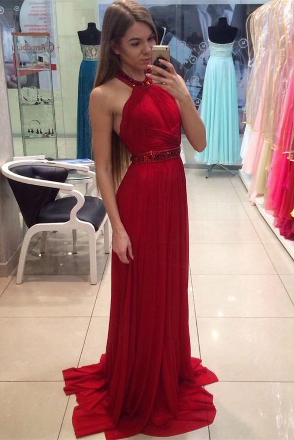Pretty Red Long Evening Dresses Sparkly Chiffon Prom