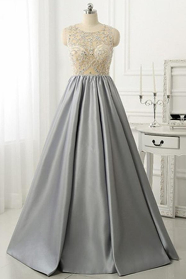 Silver Grey Prom Dresses,Formal Evening Dresses,Handmade Simple ...