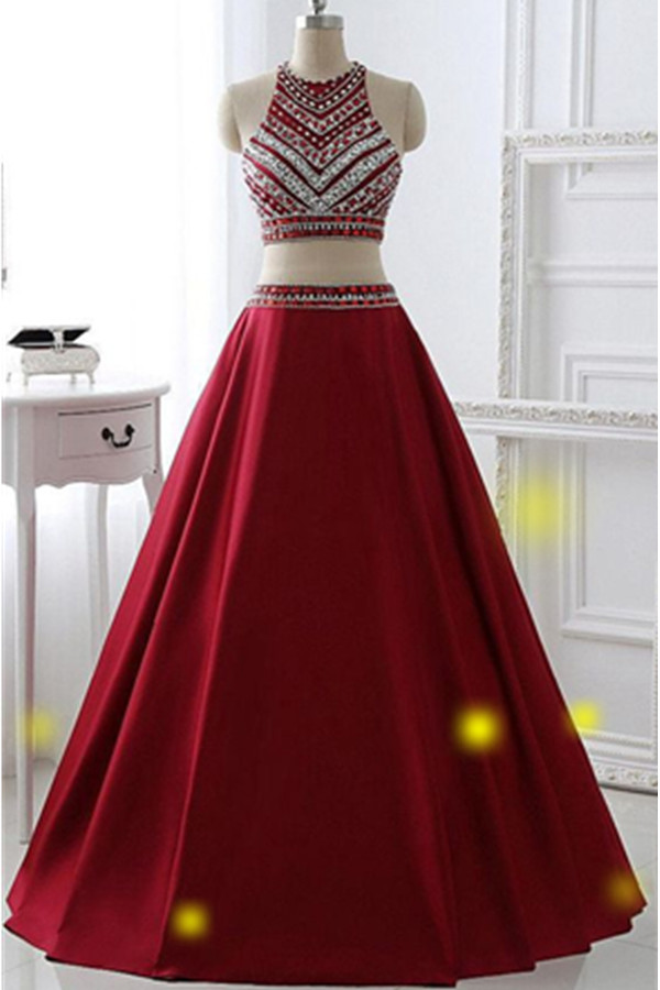 Burgundy Two Pieces Prom Dresses,A-line Prom Dresses,Saprkly Long Prom Dresses For Teens,Handmade Prom Gowns,Evening Dresses DR0414